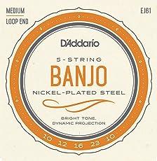 D'Addario EJ61 Nickel 5-String Banjo Strings, Medium, 10-23