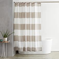 """AmazonBasics Water Repellant Shower Curtain with Hooks - 72"""" x 72"""", Gray Stripe"""