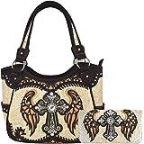 Western-Stil Kreuz Laser geschnittene Flügel Geldbörse versteckt tragen Handtaschen Frauen Country Schultertasche Brieftasche