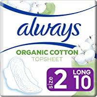 Always Serviette Hygiénique Protection Coton Long, Le paquet de 10 serviettes