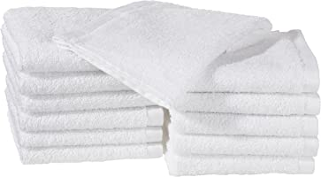 AmazonBasics Cotton Washcloths - 12-Pack - White