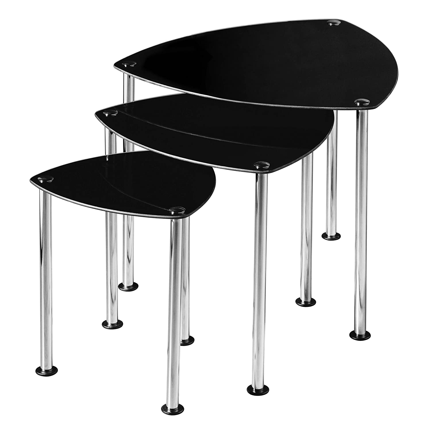 Premier Housewares Nest of 3 Tables with Black Glass Top and