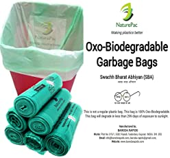 NaturePac Garbage Bags Biodegradable For Kitchen,Office,Large Size (60cmx81cm),Green (90 Bag).