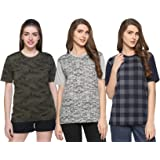 SHAUN Women's T-Shirt (Pack of 3) (B07T3WS7Y8_Multicolor_Large)