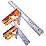 Presch Combinatie Winkelhaak Set 150mm & 300mm - Metrisch - Twee Nauwkeurige, Universele Combinatiehoek met Liniaalaanslag -