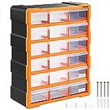 Organiseur 18 tiroirs Boîte de rangement extensible avec étiquettes Casier à vis outils petites pièces Maison atelier