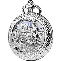 TREEWETO - Orologio da tasca con catena, da uomo, analogico, caricamento a mano, decorazione con locomotiva a vapore…