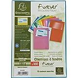 Exacompta - Réf. 50100E - Paquet de 100 chemises à fenetre Forever® - 22x31cm pour format A4 - Couleurs assorties,blanc, bleu