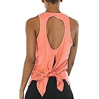 icyzone Women's Open Back Workout Tank Top - Sleeveless Running Shirt Gym Sport Vest