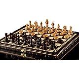 SCACCHI CILIEGI OLIMPICI & DAMA - scacchiera in legno cm 35/14 in artigianalmente con pedine