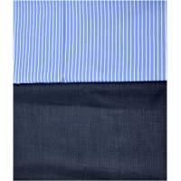 My Fabric Store Men's Cotton-Blend Shirt & Poly-Viscose Pant Unstitched Executive Fabric Combo Set with Gift Box(Blue-01 : Blue,Shirt 2.2 Meters Pant 1.2 Meters)