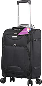 Aerolite Ultra Lightweight 8 Wheel Travel Trolley Carry On Hand Cabin Luggage Suitcase, Approved for Ryanair, easyJet, British Airways, Flybe, Wizz Air and Many More, Black