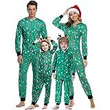 Aibrou Pijamas de Navidad Familia Conjunto Pantalon y Top Pijamas Mujer Hombre Invierno Manga Larga Pijama de Dormir 2 Piezas
