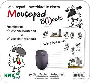 Rnk Verlag Mouse Mat Block With German Text Wir Schaafen Das 240 X 220 Mm You Will Receive 1 Pack Bürobedarf Schreibwaren