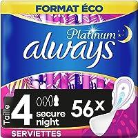 Always Platinum Serviettes Hygiéniques, Taille 4, Secure Night, 56 Serviettes (8x7 Pack), Avec Ailettes, Format Eco, Max…