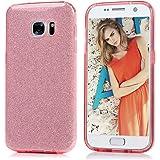 S7 Hülle Glitzer KASOS Handyhülle TPU Case Cover huelle mit 3 Schichten (Soft TPU + Glitzerfolie + Hard Inner ) Premium Bling Case Silikonhülle Design, Rosa für Samsung Galaxy S7