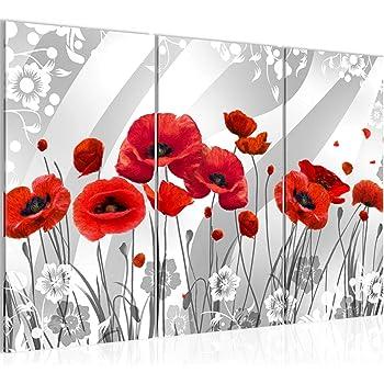 Bilder blumen mohnblumen wandbild 120 x 80 cm vlies for Wohnzimmer deko rot grau