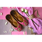 The Golden Bloom - Gold Bridal Shoes, Pink Wedding Shoes, Women Flat Shoes, Fancy Shoes, Bridesmaids Shoes
