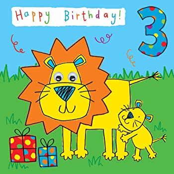 Twizler 3rd Birthday Card For Child With Lion And Hand Finished Googly Eyes 3