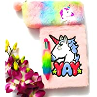 Tera13 Pack of 3 in 1 Feather Unicorn Diary, Pouch with Pen for Girls