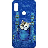 SharpEseller Cat in Blue Pocket Multi Coloured Silicone Back Cover for Mi Redmi Note 6 Pro