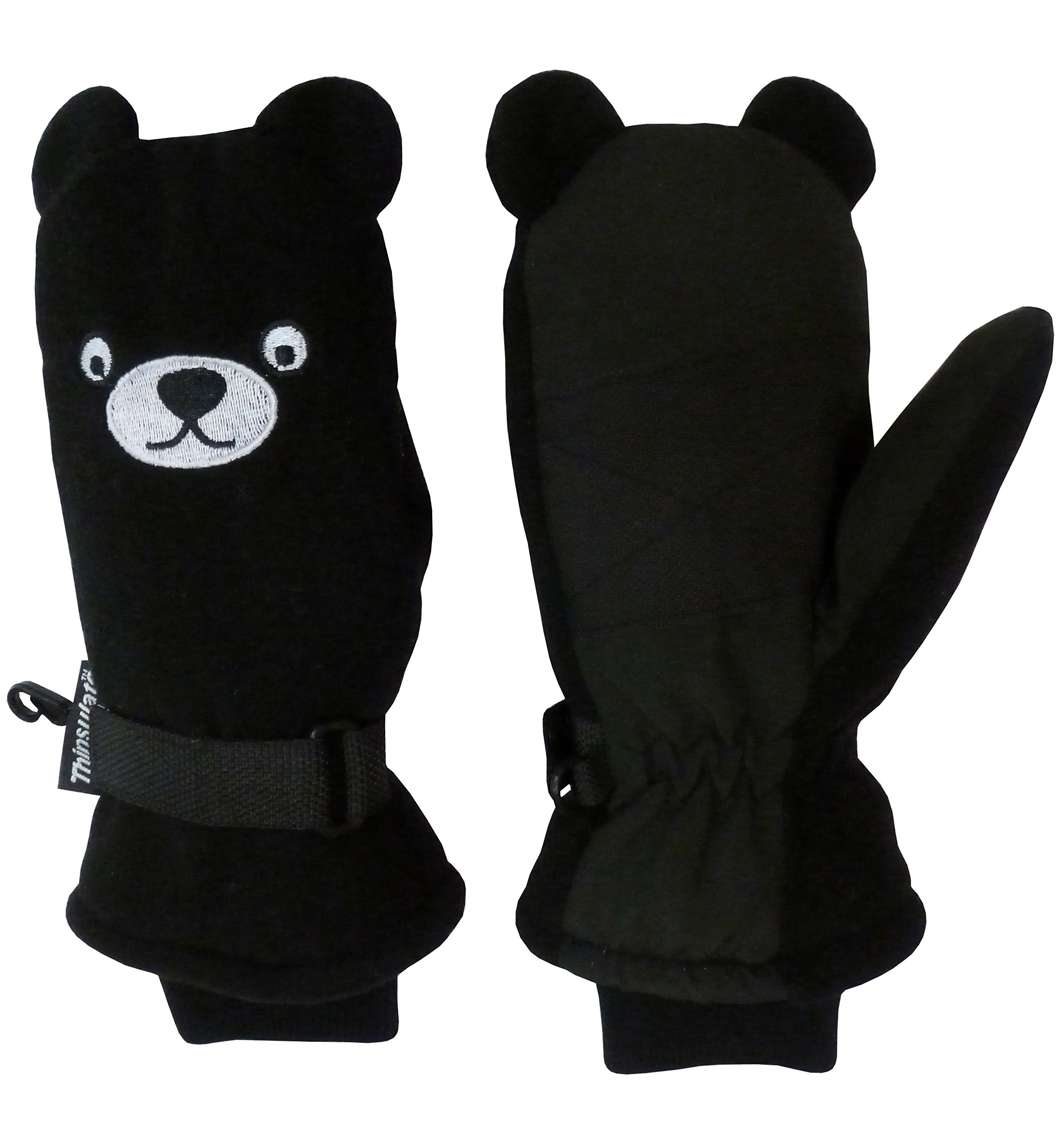 N 'ice Caps Little Kids Cute Bear Face Thinsulate guantes de invierno impermeables