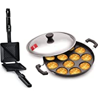 Tosaa - TSTDUET Duet 2-Cut Gas Sandwich Toaster (Black) and 12 Cavity Appam Patra Side Handle with Lid, 23 cm, Black