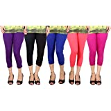 Q-rious Women's Cotton Lycra Free Size Sports/Gym/Casual Capri/Three Fourths (Pack of 5)