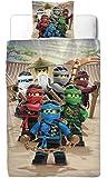 Ninjago Jungen Bettwäsche Set · Kinderbettwäsche · Lego Motiv BE COOL · 2 teilig · Kissenbezug 80x80 + Bettbezug 135x200 cm · 100% Baumwolle in Glatter Renforce Qualität - deutsche Standard Größe