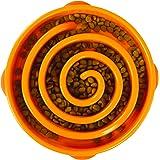 Outward Hound Fun Feeder Slo-Bowl - Gamelle d'alimentation lente anti-glouton pour chien - taille L/normal - orange