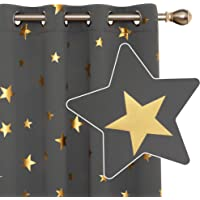 Deconovo Window Treatment Thermal Insulated Gold Star Foil Printed Eyelet Blackout Curtains for Bedroom 46x54 Inch Light Grey 2 Panels