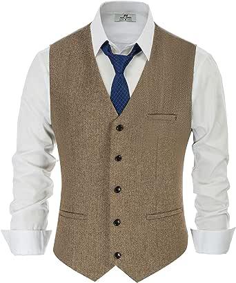 PaulJones Men Vest Sleeveless V Neck Business Slim Fit Suit Tweed Fashion