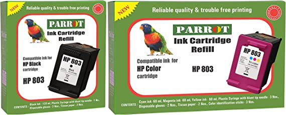 Parrot Ink Cartridge Refill for HP 803 Black and HP 803 Color, Combo