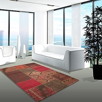 carpet city Teppich Modern Desinger Wohnzimmer Chapel Patchwork Rot ...