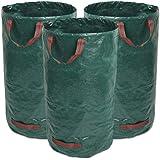Giovara Lot de 3 sacs poubelle de jardin imperméables avec poignées, pliables et réutilisables 300 l
