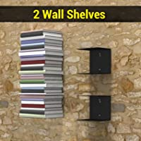 TIED RIBBONS Book Shelf Wall Mounted Heavy Duty Metal Invisible Book Shelves for bedrooms Living Room Office Study Room Home Decorations (Set of 2 Book Shelves, Black, Metal)