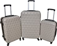 New Travel Hardside spinner luggage Set of 3 pieces with 3 digit number Lock -Beige