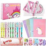 27 Piezas Unicornio Set de Papelería Bolígrafos Cuaderno Libreta de Notas y Conjunto de geometría, Regalos de Unicornio para