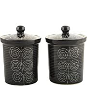 woodenclave Ceramic Jars, 750 ml, Set of 2, Black and White