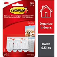 Command Micro Plastic Hook(White,3 hooks and 4 strips)