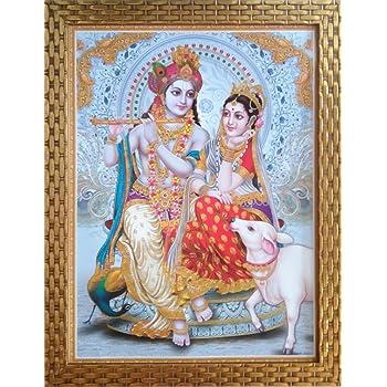 Shree Handicraft Religious Radha Krishna Painting with Frame Lord