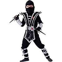Spooktacular Creations Silber Ninja Kostüm Set mit Ninja Schaum Dolchen und Wurfsternen Zubehör, für Kinder Jungen…