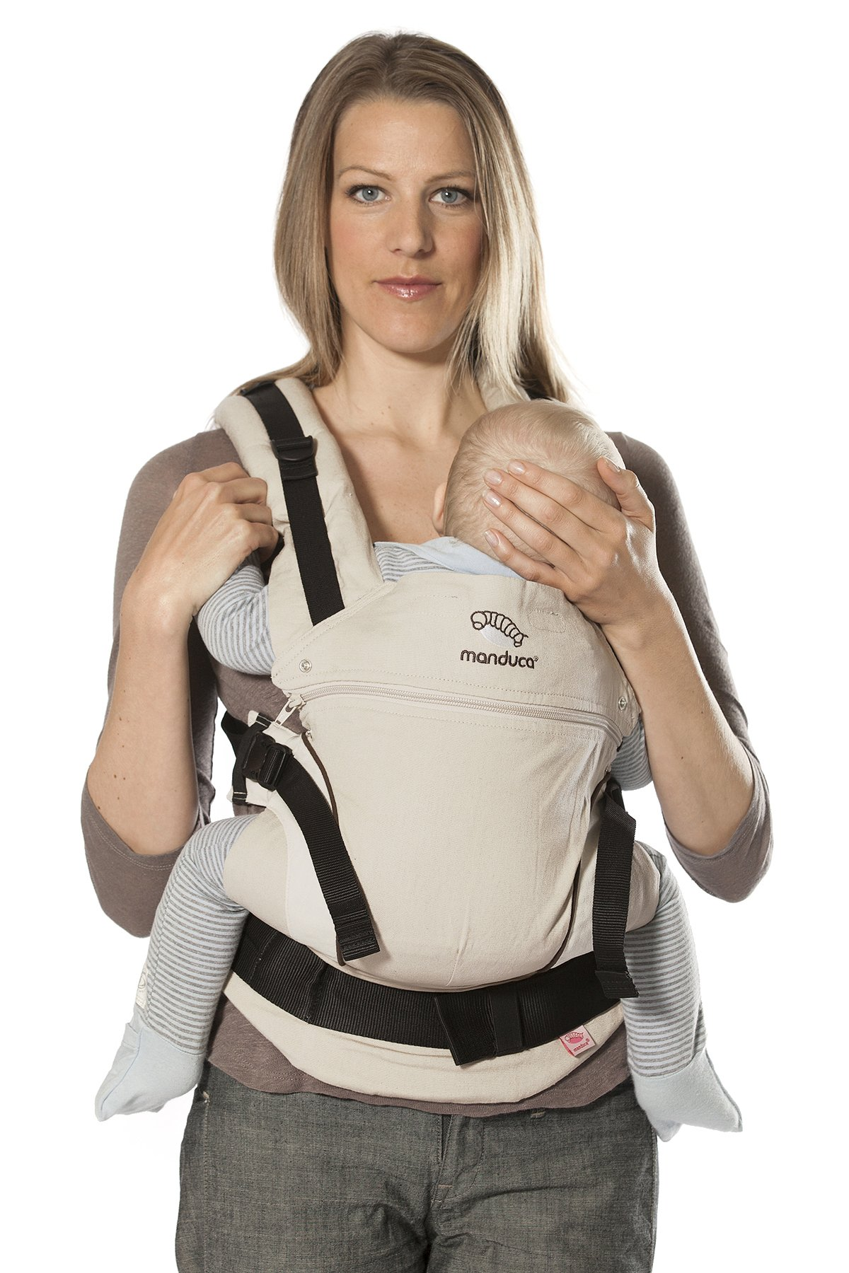 manduca First Baby Carrier > HempCotton Sand < Ergonomic Baby Carrier, Soft & Sturdy Canvas (Organic Cotton & Hemp), Front Carry, Hip Seat and Back Carry, from Newborn to Toddlers up to 20kg, Beige Manduca New features: Improved three-point-buckle (secure & easy to open); extra soft canvas made of 45% hemp and 55% organic cotton (outside), 100% organic cotton lining (inside) Already integrated in every baby carrier: infant pouch (newborn insert), stowable headrest & sun protection for your baby, patented back extension (grows with your child); Optional accessories for newborns: Size-It (seat reducer) and Zip-In Ellipse Ergonomic design for men & women: Soft padded shoulder straps (multiple adjustable) & anatomically shaped stable hipbelt (fits hips from 64cm to 140cm) ensure balanced weight distribution. No waist-belt extension needed 10