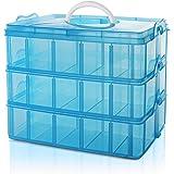 Belle Vous 3 Laags Stapelbare Blauw Plastic Opslag Doos - Aanpasbare Compartiment Sleuven - Maxi 30 Compartimenten - Opslag C