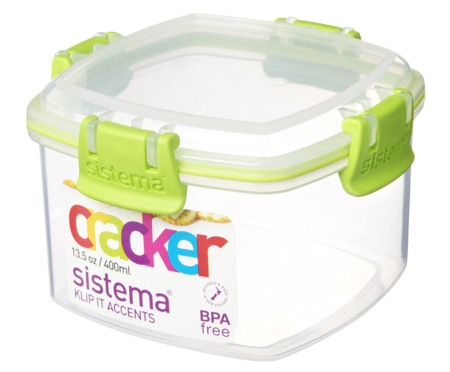 Sistema KLIP IT Cracker Storage Container, 400 Ml   Clear With Blue Clips:  Amazon.co.uk: Kitchen U0026 Home