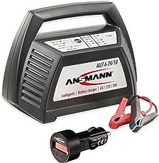 Ansmann ALCT 6-24/10 Ladegerät Autobatterie 6V, 12V und 24Volt Bleiakkus, Bleilader Werkstattladegerät für KFZ, Roller, Motorrad, Boot + KFZ-Batterietester