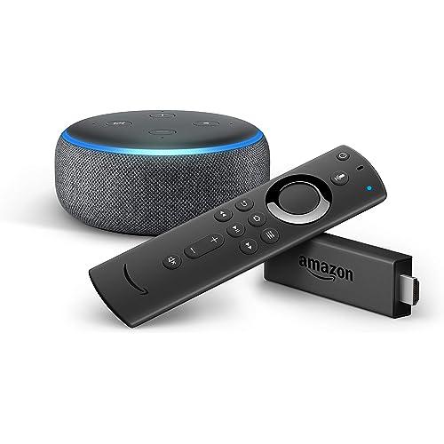 Fire TV Stick con telecomando vocale Alexa + Echo Dot (3ª generazione), Tessuto antracite