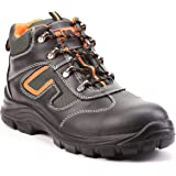 Black Hammer Mens Leather Safety Boots S3 SRC Steel Toe Cap Work Shoes Ankle Hiking Walking 6652