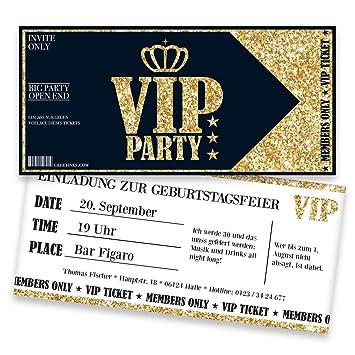 Einladungskarten Zum Geburtstag Für VIP | 10 Stück | Inkl. Druck Ihrer  Texte | Individuelle