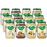 Olvarit Variatiemenu Fruit - fruithapje voor baby's vanaf 8+ maanden - 4 verschillende smaken babyvoeding - 12 fruitpotjes va